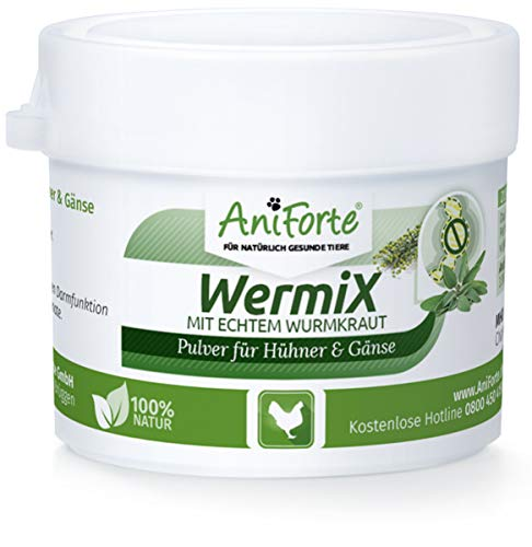 AniForte WermiX Pulver 20g für Hühner, Gänse, Enten und Großvögel - Natürlicher Wurmfeind, Naturprodukt Bei und Nach Wurmbefall -