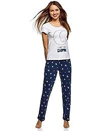 a8a01e1ced1f0 oodji Ultra Femme Pyjama en Coton avec Pantalon