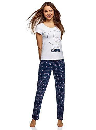 oodji Ultra Damen Baumwoll-Schlafanzug mit Pyjama-Hose, Blau, DE 38 / EU 40 / M -