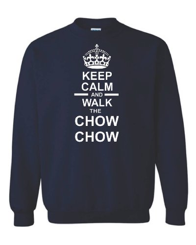 "Keep Calm ""Walk & Chow Chow Felpa Unisex Blu navy"