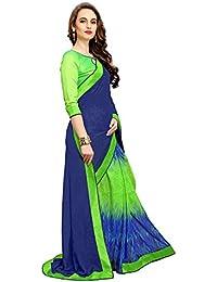 Nirjas Designer Women's Chiffon Saree With Blouse Piece (Fba Perot Green A1-Saree_Multi-Coloured)