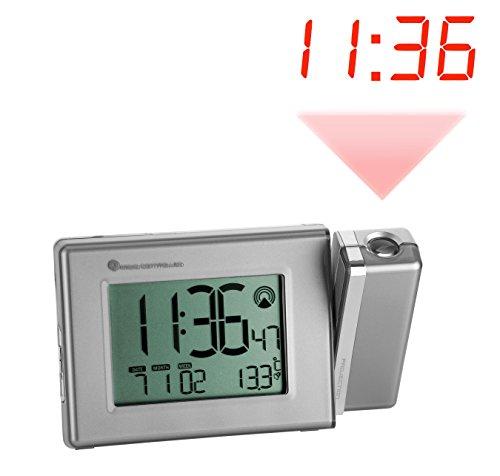 TFA Dostmann Digitale Funk-Projektionsuhr, mit Temperatur, zwei Alarmzeiten, Snooze-Funktion, Wochentag, Datum
