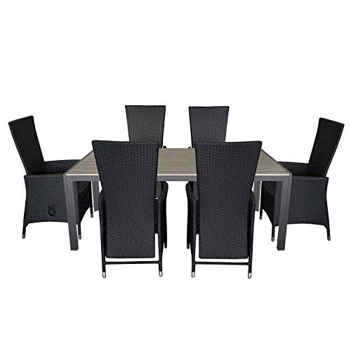 7tlg. Gartengarnitur Gartentisch 205x90cm Polywood Tischplatte Aluminium Poly Rattansessel Rückenlehne verstellbar inklusive Sitzpolster Sitzgruppe Terrassenmöbel Sitzgarnitur Gartenmöbel-Set