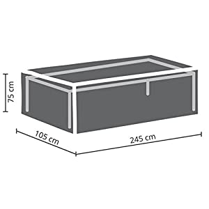 Perel Garden OCT240 Protective Cover for Garden Table Maximum 240 cm, Anthracite, 245 x 105 x 75 cm