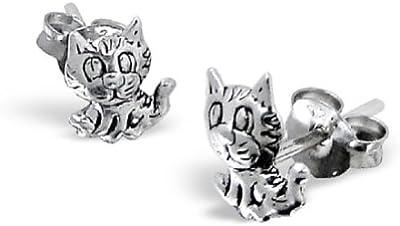 Laimons - Pendientes con forma de gato para mujer - Diseño envejecido - Plata de ley 925