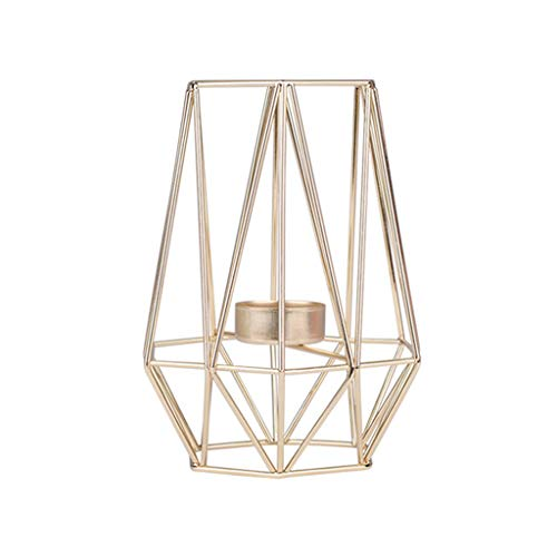 Gaddrt ferro candeliere nordic stile geometrico battuto portacandele home decoration metal crafts gold:m:9.4x9.4x17.5cm