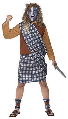Smiffys Mutiger Schotte Kostüm Tartan Oberteil Kilt mit Schärpe und Stulpen, ()
