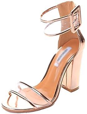 Minetom Donna Estate Tacco Alto Stiletto Sandali Punta Aperta Trasparente Caviglia Cinturnino Fibbia Festa Scarpe
