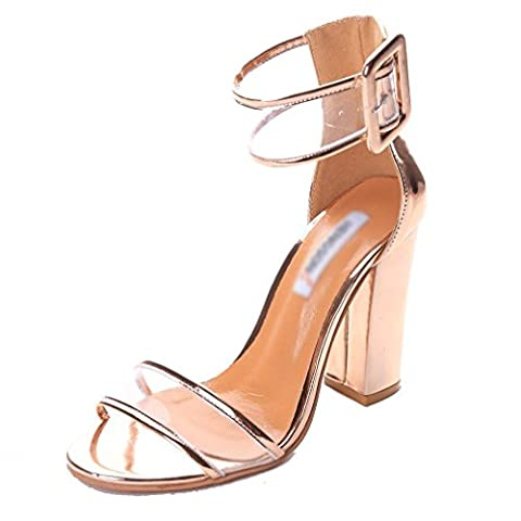 Minetom Women Summer Sexy Open Toe Shoes Sandal High Chunky Heel Sandals With Transparent Ankle Strap Gold UK