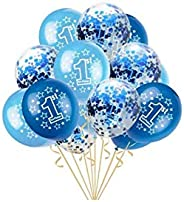 holiday atmosphere 15 PCS 1st Birthday Balloons Boy Decorations Kit,Fun to be One,Blue and Sky Blue Color Ball