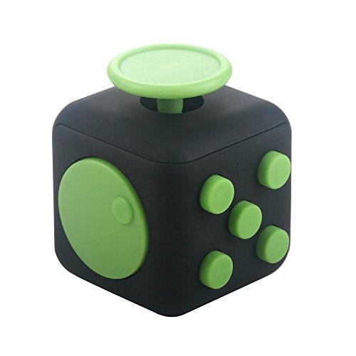 Fidget Stresswürfel von eLander [1 Stück] Cube gegen Stress, unruhige Hände, Perfekt für nervöse Finger zur Ablenkung [Schwarz & Grün] thumbnail
