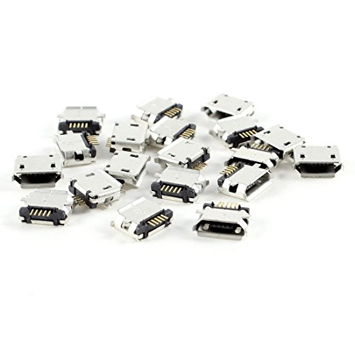 TOOGOO(R)20 Pcs Micro USB Tipo B Hembra Enchufe 180 Grado 5-Pin SMD SMT Soldadura Jack