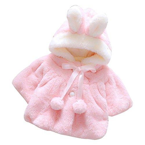 Rawdah giacche del mantello del cappotto caldo invernale della pelliccia delle ragazze del bambino dei vestiti abiti caldi spessi baby infant girls warm coat cloak jacket (12/18 mesi, rosa)