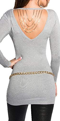 Koucla femmes chandail pull à maille fine pull lurex Collier chaîne Gris