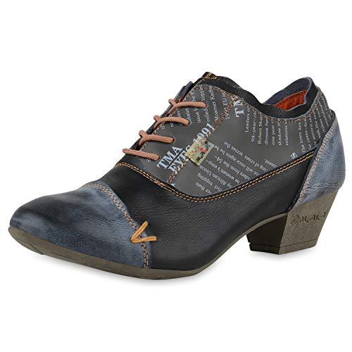 TMA MAIA Damen Stiefeletten Ankle Boots Leder Vintage Schuhe 174955 Schwarz 38 Scarpe Vita - Vintage Rock Anzug