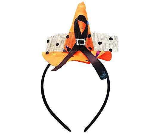 HELUHMX Mini Hut Stirnband Cobweb Dots Schleier Mütze Ostern Halloween Kostüm Zubehör Party Kopfschmuck präsentiert Orange