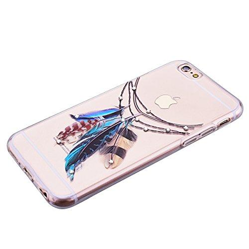 HB-Int Bling TPU Coque pour Apple iPhone 6 Plus / iPhone 6S Plus (5.5 pouces) Transparente Housse Etui Belle Motif Coque Ultra Mince Paillette Case Cover Gel Silicone Souple Couverture Légère Slim Fle Plumes E