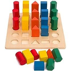 hibote Inteligencia Matemáticas Clásicos Juguetes Madera Geometría De Color Columna Forma De Clasificación Bloques De Edificio Juego, Juguetes De Madera De Los Niños Geométricos En Forma De Clasificador Bloque De Color