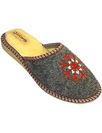 c82722fce2 BeComfy Zapatillas de Fieltro Mujeres Casa Cómodo Ligeros Pantuflas Gris  Fieltro   Goma Suela 36 37