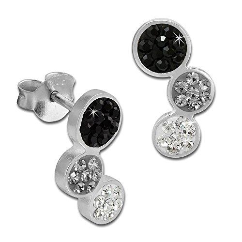 SilberDream Glitzer Ohrstecker drei Kreise 925 Sterling Silber mit Tschechischen Preciosa Kristallen schwarz Ohrringe für Damen GSO600S