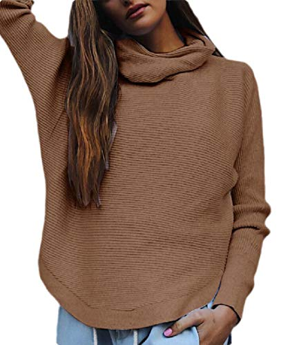 Generic Womens Chunky Turtleneck Sweater Long Sleeve Knit Baggy Pullover Jumper Khaki M - Cashmere Deep V-neck Sweater