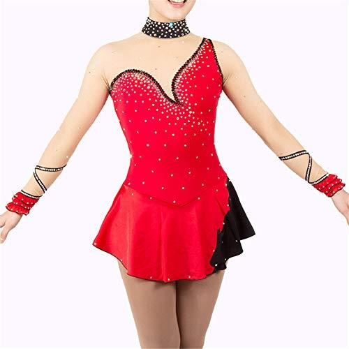 Handarbeit Eiskunstlauf Kleid Für Mädchen, Rollschuhkleid Professionelle Wettbewerb Kostüm Kristalle Langärmelig Eislaufen Kleid Rot,8