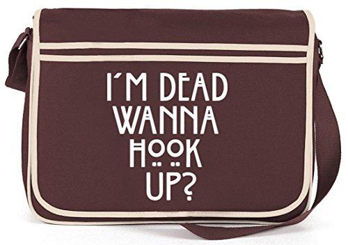 Shirtstreet24, AHS - Wanna Hook Up? Retro Messenger Bag Kuriertasche Umhängetasche Braun
