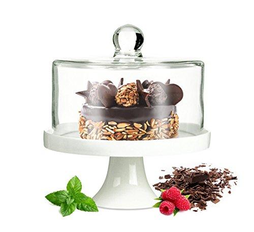 mit Fuß aus Porzellan Käseglocke Glasglocke Tortenplatte Kuchenplatte ()