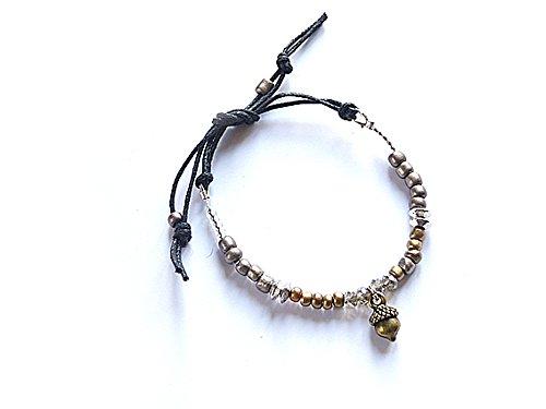 Vom Chiemsee-Atelier Patricia: donne braccialetto dell' amicizia, Swarovski Elements, bronzi Sorted Argento Lucky Acorn perline di legno nodo limitata. , colore: bronzo