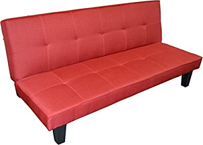 Harbour Housewares Folding Sofa Bed With 3 Positions. Red Fabric - inexpensive UK sofabed store.