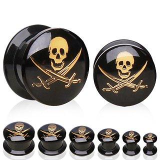 10 millimetri in oro pirata Disegno di marchio di acrilico nero UV Vite Fit Doppia svasato Gambe Plug Orecchini traforo della carne