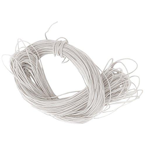 42 mètres Fils Cordes en Coton Ciré 1mm pour DIY Bijoux Bracelet Collier - Blanc
