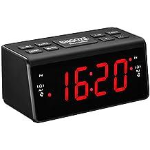 Radio Despertador Digital, Pictek [2017 Actualizado] 3 en 1 Despertador Digital con Radio FM/AM, Función de Doble Alarma y 8 Botones de Repetición Fácil, Gran Pantalla LED de 1,5 Pulgadas, Función del Sueño y Snooze, Control de Brillo Ajustable