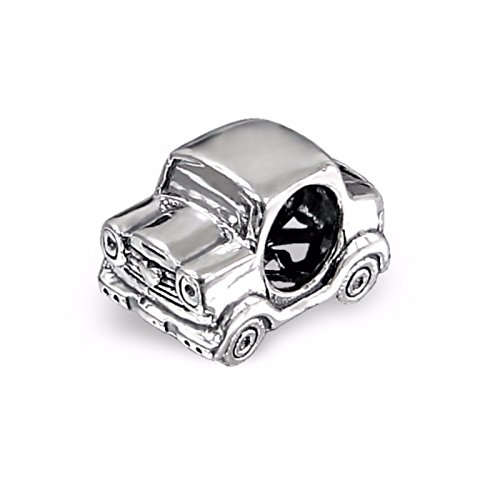 Auto Charme Pandora (Silvadore - Silbere Bead - Autofahrzeug Auto-bewegliche Räder entwerfen Herzemblemabzeichen - 925 Sterling Charme 3D Rutschbahn auf 654 - Anfälle Pandora European Armband - freies Geschenk boxte)