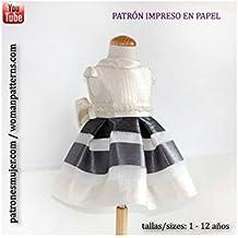 Patrón de costura, vestido niña para arras con vídeo-tutorial para realizarlo. Talla 1 a 12 años. Patrón multitalla en papel.