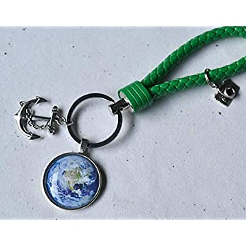 Schlüsselanhänger Weltkugel Globus Erde mit Anker und Schlaufe