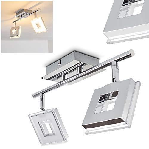 LED Deckenleuchte Krakau, Deckenlampe in Chrom, 2-flammig, mit 2 verstellbaren Strahlern,
