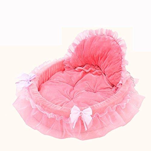 Hundebett,Traumzimmer Haustier Hund Welpen Prinzessin Pfeil Spitzen Herz Elegante HüBsches Bett HundehüTte Pet Warmes Bett (Rosa)