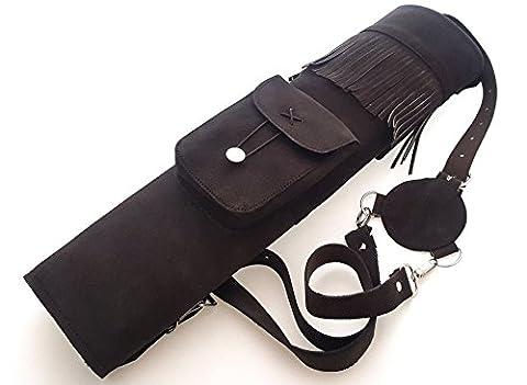 Tir à l'arc traditionnel en daim en cuir arrière Quiver., marron foncé