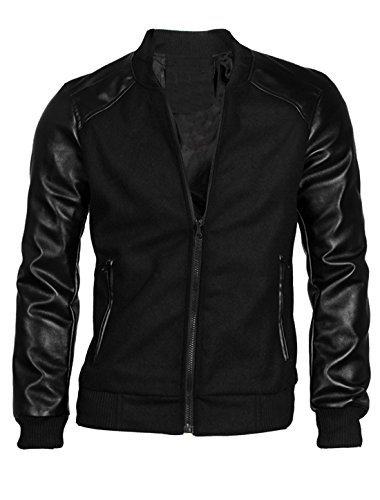 allegra-k-men-imitation-leather-panel-long-sleeve-rib-knit-trim-baseball-jacket-size-s-uk-34