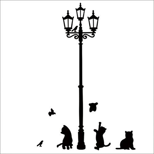 Zhhyizhi Casa Decor Art Decal Cats Street Lamp Wall Sticker Vinyl Mural Decal