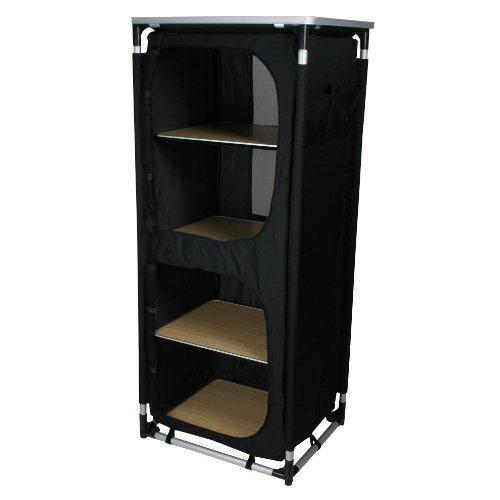 10T Cambox Quattro Alu Campingschrank 59x48x140 cm Faltschrank mit Ablage-Platte Aluminium Zelt-Schrank mit 4 Fächern mobile Camping-Küche verschließbarer Reiseschrank mit Insektenschutz Türen & Belüftung