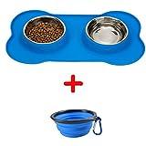 Pinji - Comedero de acero inoxidable para comida de gato pequeño, con alfombrilla de silicona antideslizante y cuenco plegable