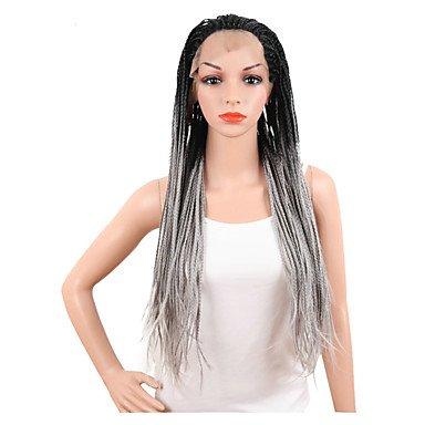 etische Perücken Lang Gerade Grau Gefärbte Haarspitzen (Ombré Hair) Afro-amerikanische Perücke Geflochtene Perücke (Geflochtene Perücken)