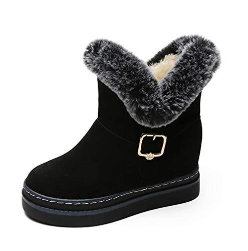 SHANGWU Stivali Invernali da Neve in Pelliccia/Stivali con Zeppa a metà Polpaccio/Scarponcini da Donna con Plateau e Peluche (Colore : Nero, Dimensione : 39)