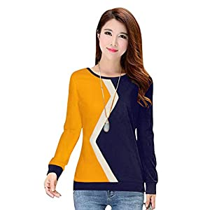 BELOMODA Imported Streachable Fabric Plain Full Sleeves Trendy T-Shirt for Women