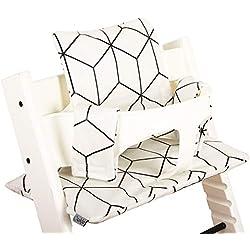 Coussin Chaise Haute pour Stokke Tripp Trapp - Blanc et noir - Facile à nettoyer ♥