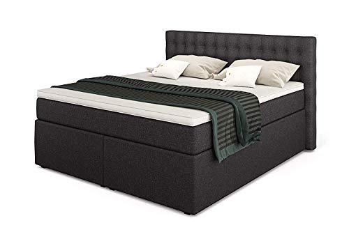 Betten Jumbo King Boxspringbett 180x200 cm 7-Zonen TFK Härtegrad H3 und Visco-Topper   Farbe Anthrazit   div. Größen verfügbar