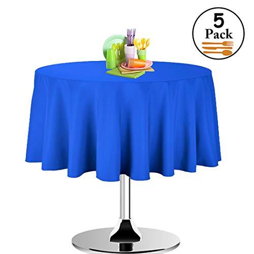 Timere Einweg-Tischdecke, Kunststoff, 213 cm, rund, ideal für Partys, Urlaubsessen, Hochzeiten, 5 Stück blau