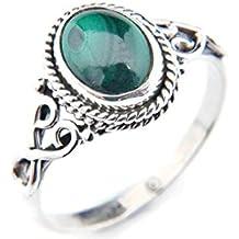 Ring Silber 925 Sterlingsilber Malachit grün Stein (MRI 42)